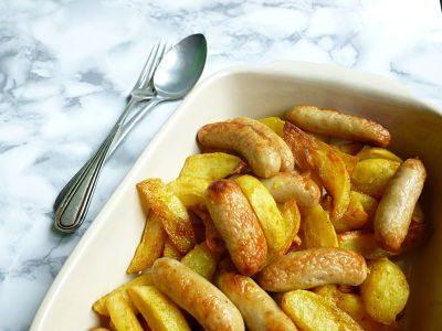 Patatas gajo al curry con salchichas de carnicería 1