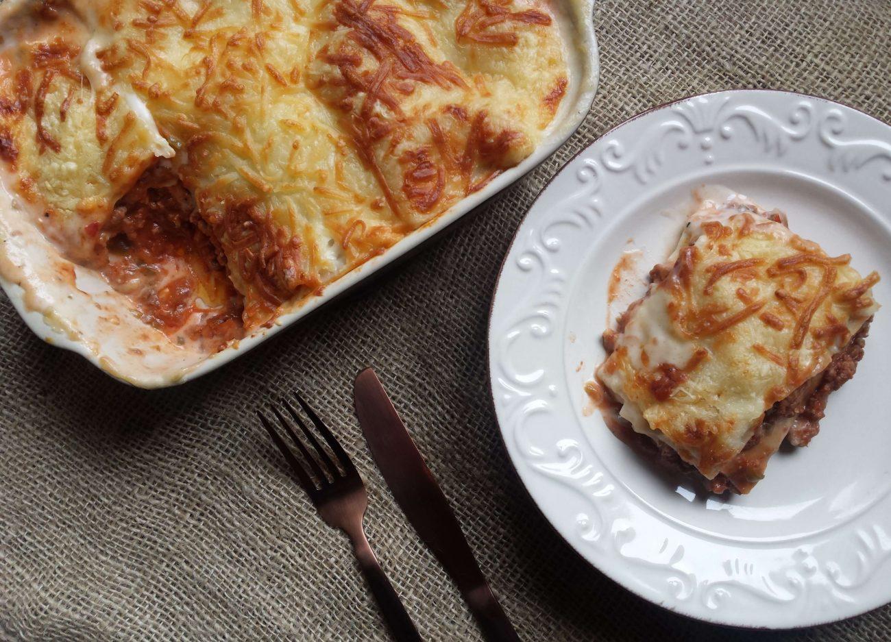 Lasaña de carne o pasta a la boloñesa