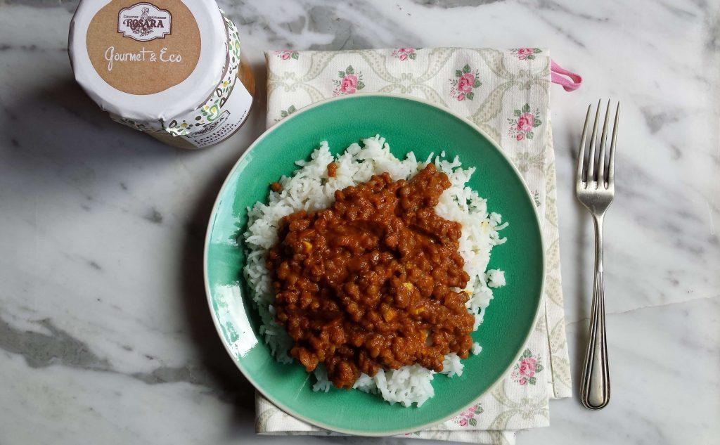 Presentación de lentejas al curry 1 Rosara