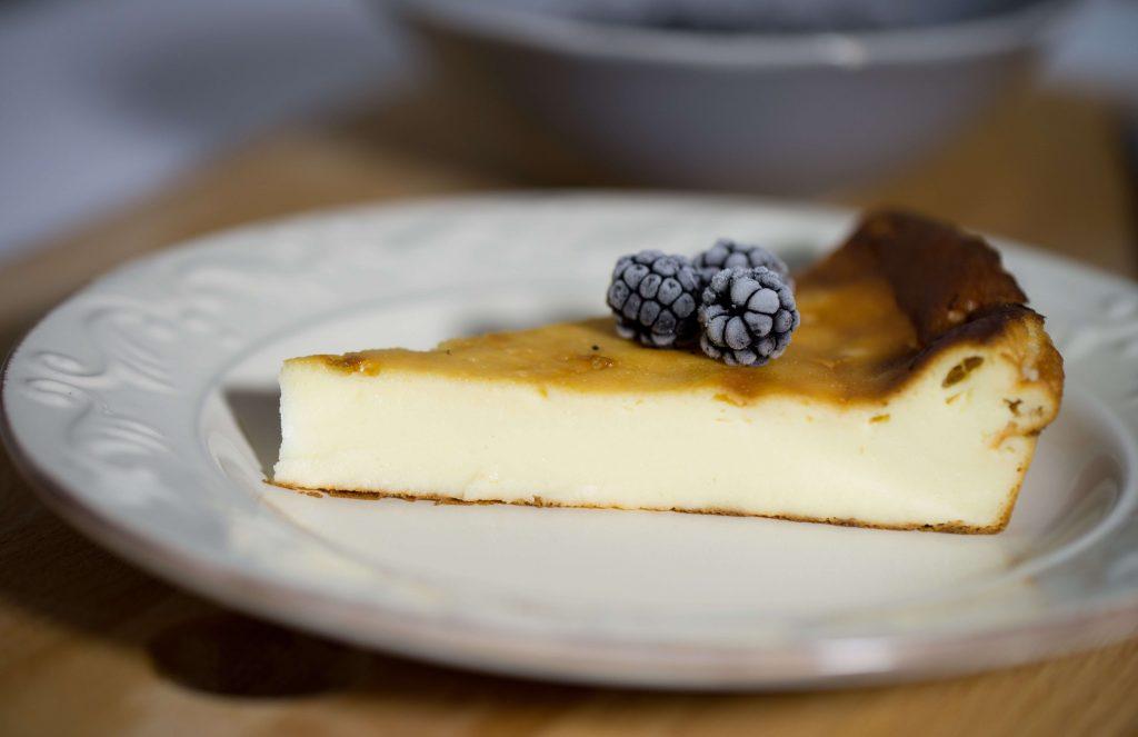 Porción de tarta de queso