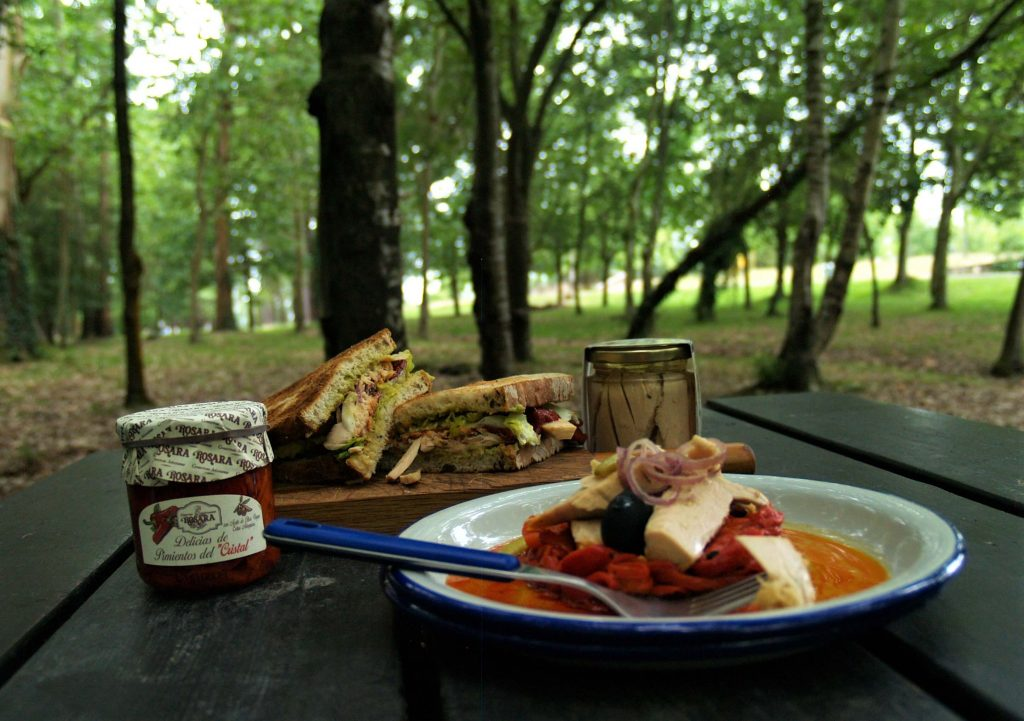 Vista de ensalada y bocadillo de bonito y pimientos con productos