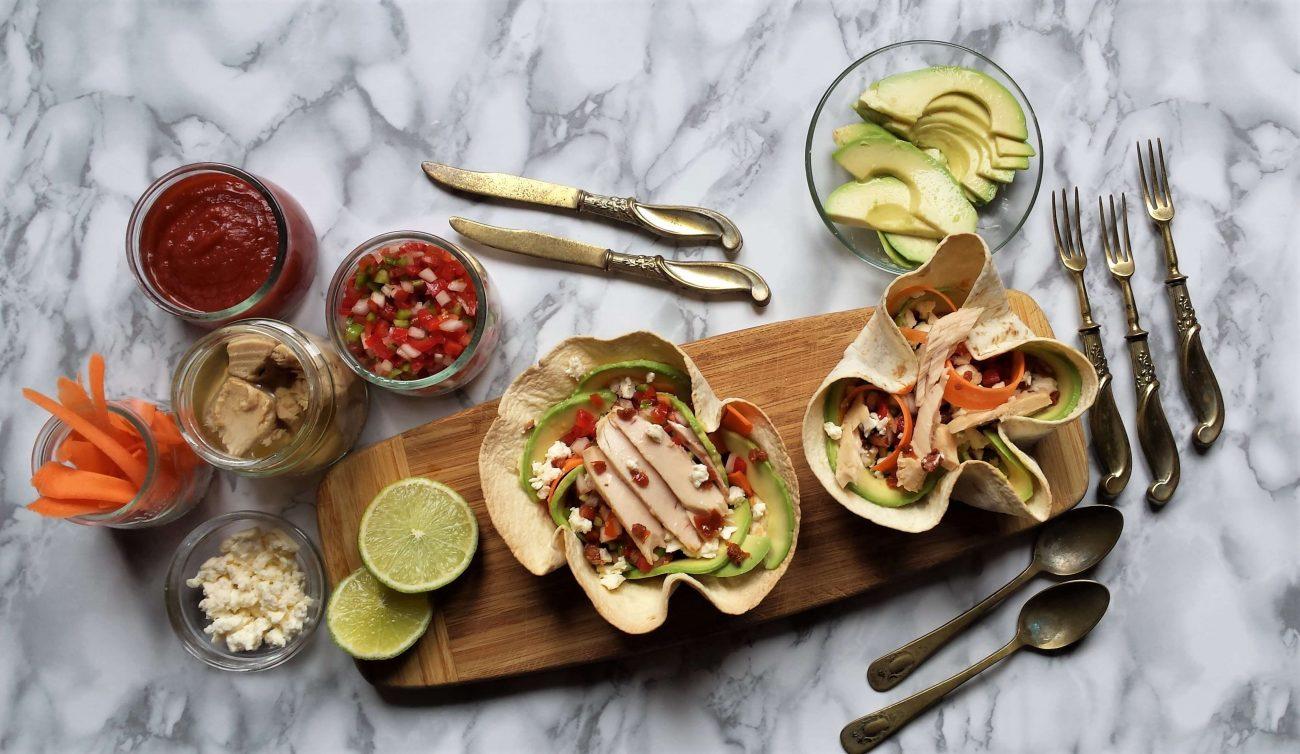 Fajitas fitness de verduras y bonito. Receta fácil